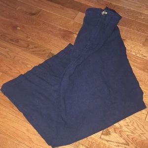 Navy Blue Twill Culotte Pants